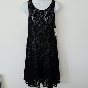 FREE PEOPLE Black lace dress NEW sz XS stretch